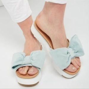 UGG Joan II Bow Leather Platform Sandal. Size 8.